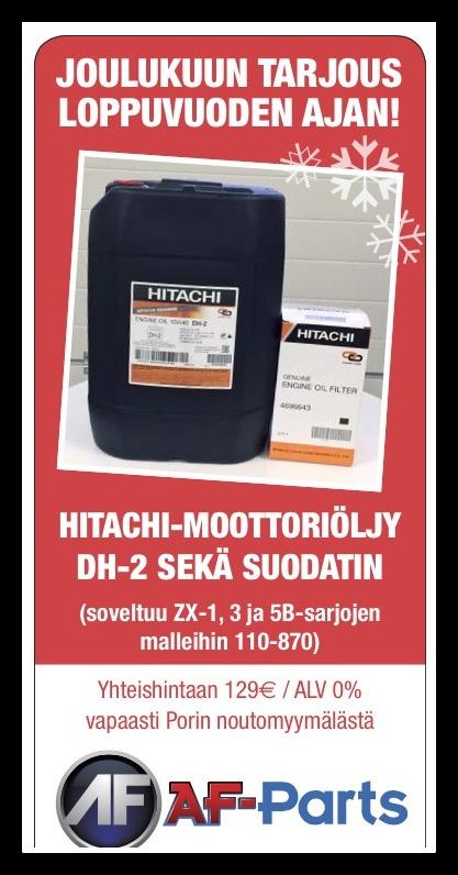 Hitachi-moottoriöljy DH-2 sekä suodatin yhteishintaan 129 eur / ALV 0%